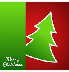 Paper Christmas tree on red striped background vector image vector image