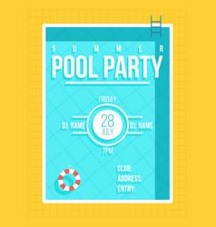 pool party poster summer party invitation flyer vector image vector image