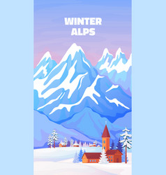 alps winter poster vintage cartoon banner vector image