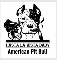 American pit bull dog with glasses gun and cigar vector