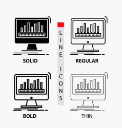 Analytics processing dashboard data stats icon in vector