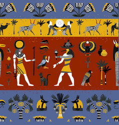 Ancient egyptian religion seamless pattern vector