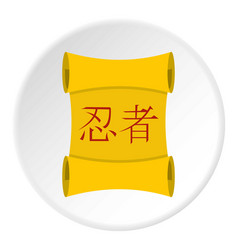 Ancient japanese traditional scroll icon circle vector