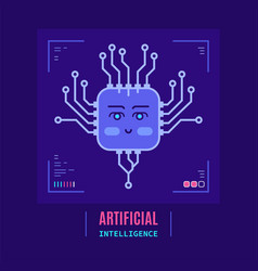 artificial intelligent concept banner flat style vector image
