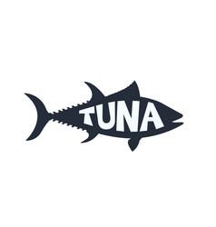 Atlantic bluefin tuna fish lettering inside vector