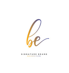 B e be initial letter handwriting and signature vector