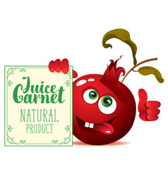 banner for garnet juice with cute character garnet vector image