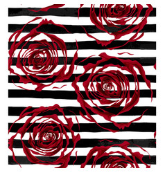 Beautiful seamless pattern outline of red roses on vector