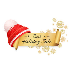 Best holiday sale lettering inscription on scroll vector