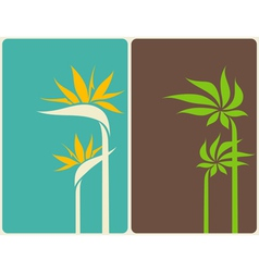 Bird of paradise flower and palm tree leaf vector