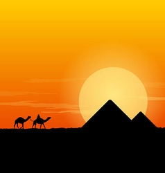 Camel Caravan and Pyramid vector