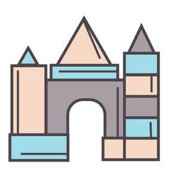 castle made wooden bricks children toy vector image