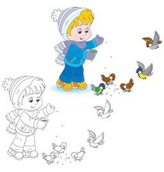 Child feeds birds vector