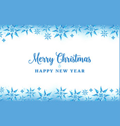 christmas background with crystal snowflakes blue vector image