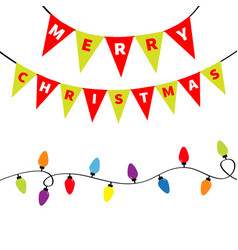 christmas lights bunting flags letters set vector image