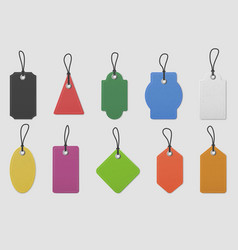 color paper price tag labels realistic colored vector image