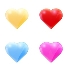 Colorful set of glass hearts vector image