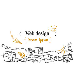 Computer digital web design development concept vector