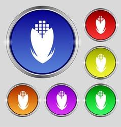 Corn icon sign Round symbol on bright colourful vector