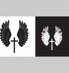 cross and wings black vector image