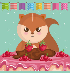 cute and little chipmunk with sweet cake vector image