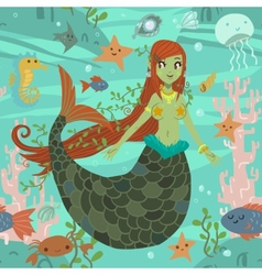 Cute awesome mermaid princess pattern vector