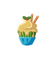 Cute cupcake with white icing vector
