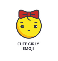 cute girly emoji line icon sign vector image