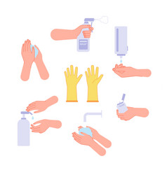disinfection hand wash steps drying hands and vector image