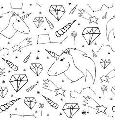 Dreamlike hand-drawn seamless pattern vector