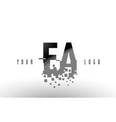 Ea e a pixel letter logo with digital shattered vector