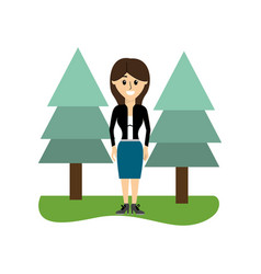 Elegant woman with clothes and pine trees vector