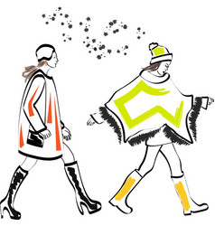 fast fashion sketch with stylish girls vector image