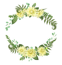Festive floral frame with yellow dahlia flowers vector