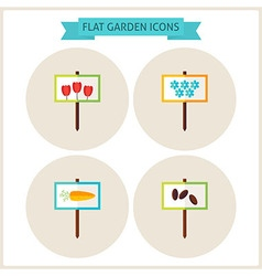 Flat Garden Signs Website Icons Set vector