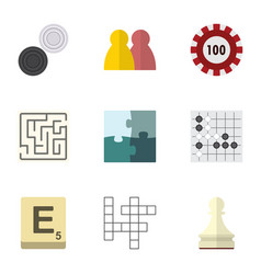 Flat icon entertainment set of poker jigsaw vector