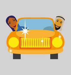 Flat icon on theme arabic business muslim in the vector