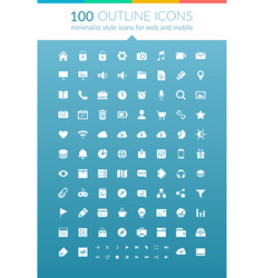 flat web outline icons set vector image