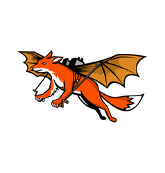 flying fox with mechanical wings mascot vector image