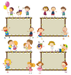 four frame designs with happy children vector image