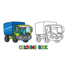 Funny small lorry with eyes coloring book vector