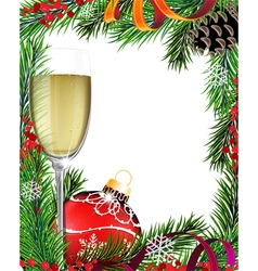 Glass of champagne and Christmas tree branches vector image