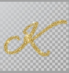 Gold glitter powder letter k in hand painted style vector