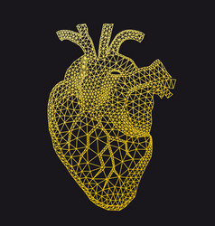 gold human heart with geometric pattern vector image