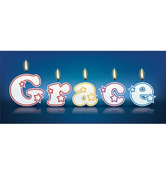 GRACE written with burning candles vector