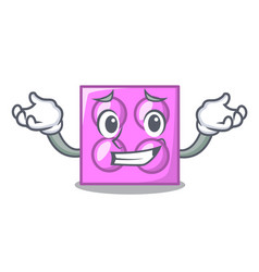 Grinning toy brick character cartoon vector