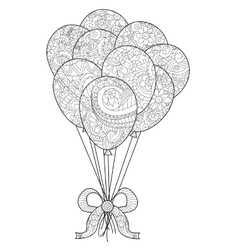 Group of balloons on a string coloring for vector