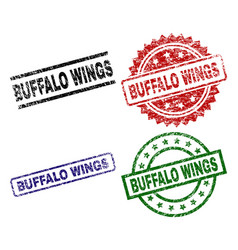 Grunge textured buffalo wings stamp seals vector