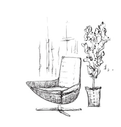 Hand drawn room interior Chairs sketch vector image