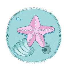 hand drawn starfish and seashell grunge emblem vector image